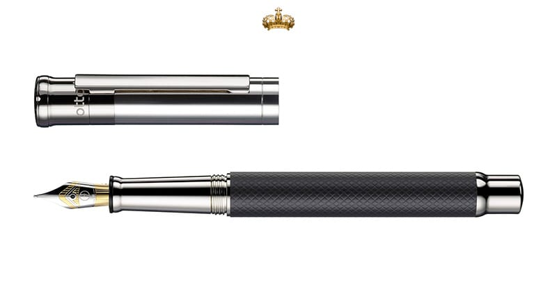 Otto Hutt Design 04 Black Square Guilloche Fountain Pen